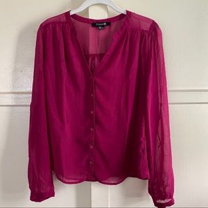 forever 21 fuchsia long sleeve blouse